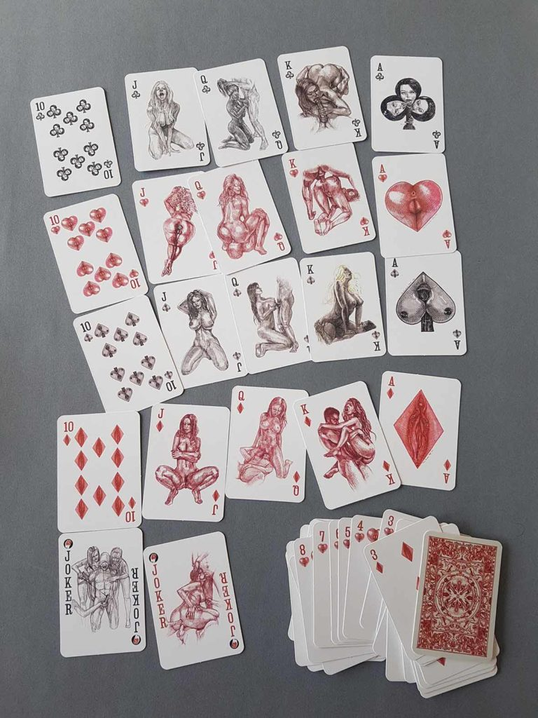 erotic poker cards designrd by artist Jan kowalewicz cards for sale texas holdem poker 52 cards in deck
