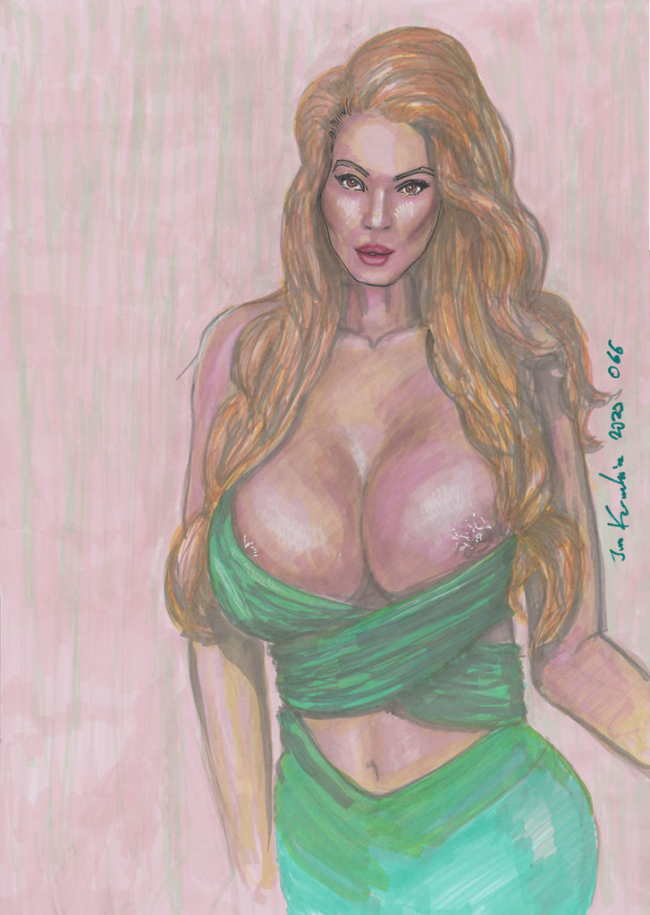 mature woman lion lioness massive breasts cleavage green dress erotic portrait