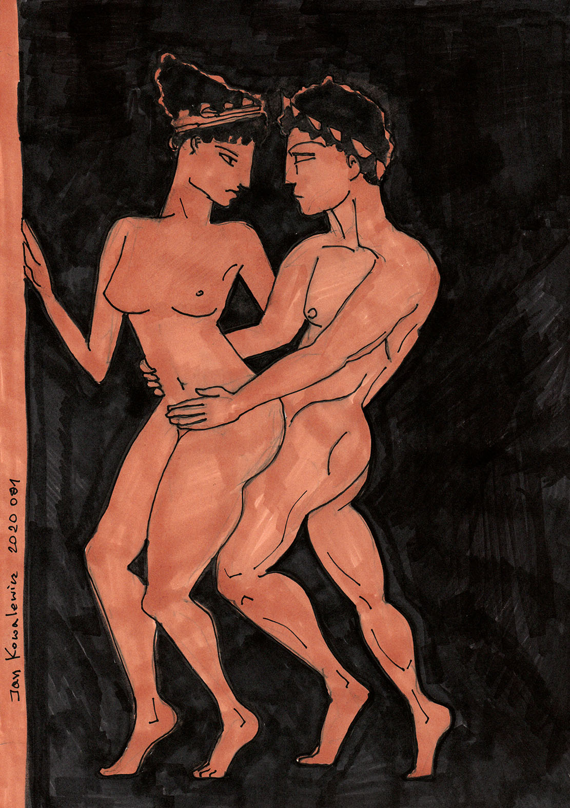 erotic drawing red figure technique greek vase art