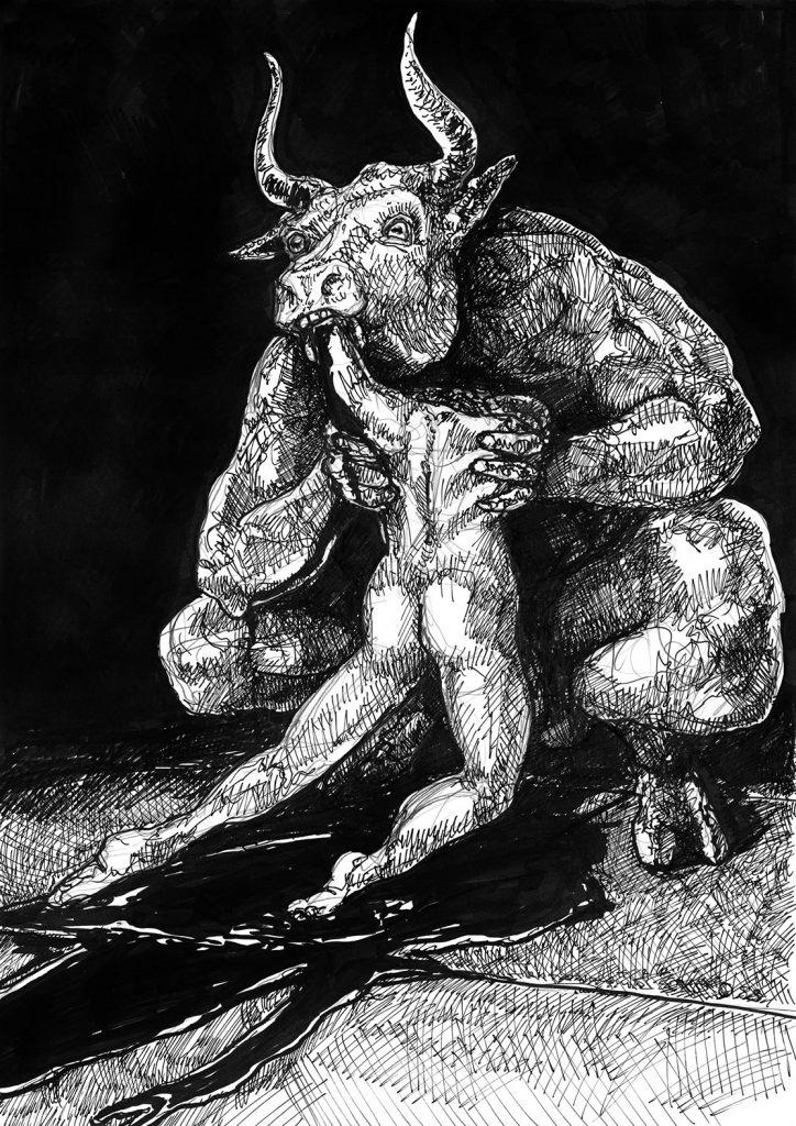 Saturno devorando a su hijo Saturn Devouring His Son goya inspiration minotaur eating his slave
